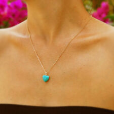 Heart Turquoise Bead Charm Pendant Fashion Jewelry Love Chain Necklace Xmas Gift