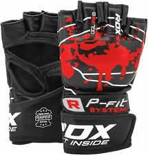 RDX Cowhide Leather MMA Grappling Gloves Fight Boxing Training Punching Sparring