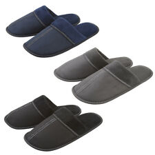 Mens Gents Mule Memory Foam House Slippers Plain Slip On Indoor Faux Suede Warm