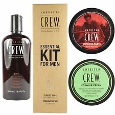 American Crew Mens 3 in 1 Shampoo Wax Paste Fiber Styling Cream Gift Set