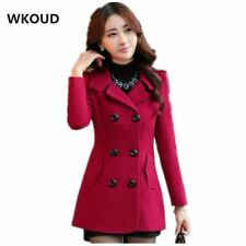 Women's Wool Coat Trench Double Breasted Turn-down Collar Outerwear Ladies