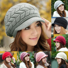 Women Ladies Beret Cap Baggy Beanie Knit Crochet Hat Slouch Winter Warm Ski Hats