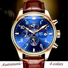 CARNIVAL genuine mens leather automatic watch auto day date moon phase water res