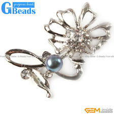 Fashion Freshwater 7-8mm Pearl Beads Gold Plated Flower Shape Brooch 25x52mm