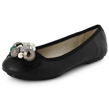 NEW WOMENS FAUX LEATHER EMBELLISHED CASUAL FLATS LADIES SMART SHOES SIZE 3-8 UK