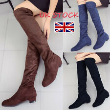 UK Womens Over The Knee Thigh High Long Stretch Block Mid Heel Boots Suede Shoes