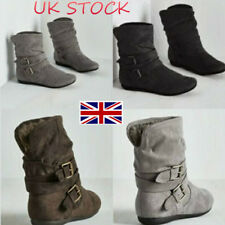 UK Ladies Girl Buckle Ankle Boot Biker Slouch Boots Suede Slip On Shoes Size 3-8