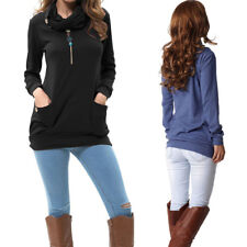 Moxeay Womens Long Sleeve Button Cowl Neck Tunic Tops Sweatshirts With Pockets