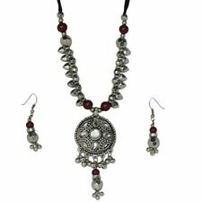 Chunky Oxidised Tribal Pendant Necklace and Earring Set with Beading