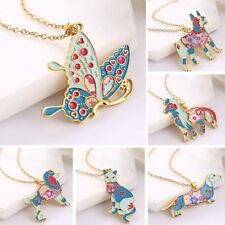 Fashion Women Lovely Colorful Animal Dog Butterfly Cat Pendant Necklace Jewelry