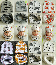 Toddler Infant Baby Kids Winter Warm Cap Boy Girl Crochet Knit Beanie Hat&Scarf