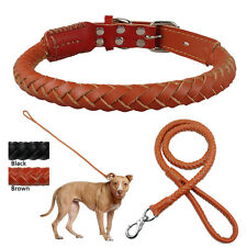 Luxury Rope Rolled Leather Braided Dog Collar and Leash Set Medium Large Brown