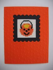 HANDMADE CARD CROSS STITCH COMPLETED FINISHED  HALLOWEEN TRICK OR TREAT BASKET