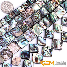 """Natural Rainbow Abalone Shell Gemstone Square Loose Beads For Jewelry Making 15"""""""