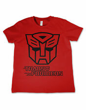 Transformers T Shirt Autobot Outline Logo Official Kids New Red Size 3-12yrs