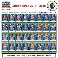 Match Attax 2017 - 2018: Match Attax Live / Pro 11 Code Cards (*Unused Codes*)