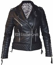 Slim Fit Black Biker Diamond Quilted Motorcycle Real Sheepskin Leather Jacket