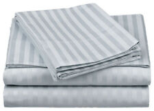 1000TC Egyptian Cotton 1pc  FITTED SHEET Sateen Platinum Stripe