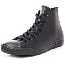 Converse All Star Leather Hi Womens Trainers Black Black New Shoes