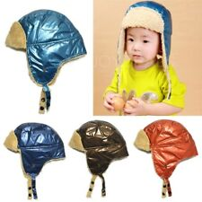 New Simple Baby Kids Warm Hat Earflap Cap with Shiny Leather Head Warmer 4 Color
