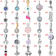 European Silver Beads CZ Rhinestone Charms Pendant Fit Necklace Bracelet Chain