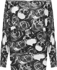 Womens Plus Monochrome Skull Roses Print Long Sleeve Batwing Ladies Top 16-26