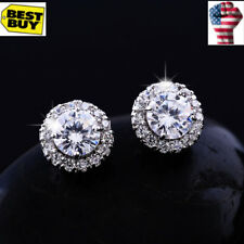 Fashion Jewelry White Gold Plated Silver Clear Full Crystal Round stud Earring