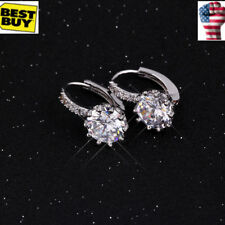 Fashion Jewelry Women Girl Platinum Plated Silver Round Crystal Hoop Earrings