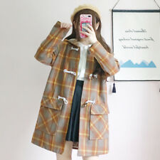 Vintage Mori Girl Japanese Preppy Style Lolita Plaid Wool Overcoat Jacket Coat