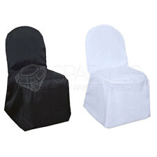 Polyester Black or White Banquet Chair Covers Wedding Reception Universal
