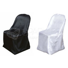 Satin Black or White Folding Chair Covers Wedding Reception Universal Fitted