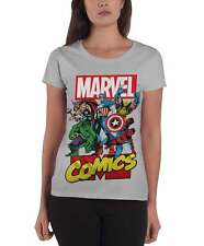 Marvel Comics T Shirt Heroes new Official Womens Skinny Fit Grey