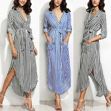 Plus Womens Stripe Belted Long Sleeve Top Blouse Pockets Full-open Maxi Dress