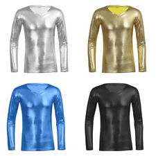 Mens Trend Metallic Slim Fit V-neck Long Sleeve T shirts Muscle Tee Tops Blouse