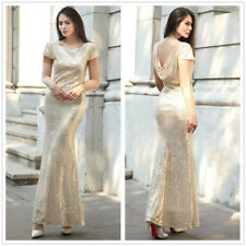 Women Gold Sequin Party Long Evening Cocktail Wedding Bridesmaid Dress Ball Gown