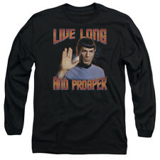 Spock Picture LIVE LONG AND PROSPER Licensed Adult Long Sleeve T-Shirt S-3XL