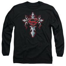 Superman GOTHIC STEEL LOGO Licensed Adult Long Sleeve T-Shirt S-3XL