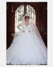 White/Ivory 3M Long Wedding Veil With Lace Appliques Without Comb