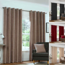 Eyelet Anneau Top CHENILLE PLAIN HEAVY LINED Woven Pair of Curtains in 4 Colours