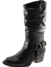 DailyShoes Western Womens Slouch Mid Calf Ankle Strap Buckle Cowboy Boots