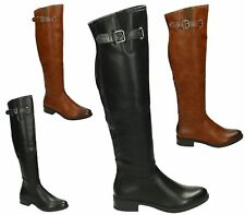 WOMENS BLACK CAMEL FAUX LEATHER KNEE HIGH BUCKLE ZIP BLOCK HEEL RIDING BOOTS 3-8