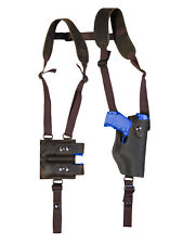 NEW Barsony Brown Leather Vertical Shoulder Holster w/ Mag Pouch Taurus Compact