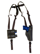 NEW Brown Leather Vertical Shoulder Holster Dbl Mag Pouch Glock HK FN Full Size
