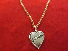 "14 kt GOLD PLATED PLATED  HEART SHAPED DONNA NAME  & 7 "" TO 30"" ROPE CHAIN"