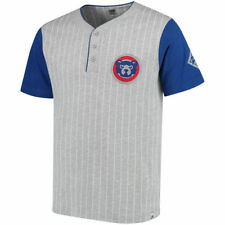 Chicago Cubs Gray/Royal Cooperstown Collection Pinstripe Henley T-Shirt