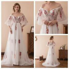 Embroidery V Neck Evening Prom Formal Long Bridesmaid Ball Gowns Dresses Stock