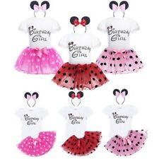 "3pcs Baby Girl ""Birthday Girl""  Romper Bodysuit+ Headband Tutu Skirt Outfit Set"
