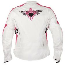 Xelement Womens Reflective Tribal Heart White Pink Armored Motorcycle Jacket
