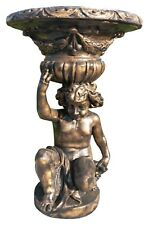 Large Stone Garden Statue Cherub Sculpture Planter Bronzed Ornament Flower Patio