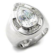 7X236 sterling silver ring simulated diamonds pear  cut statement chunky bezel